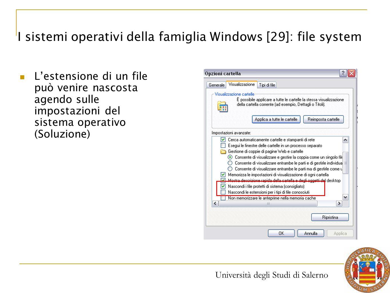 I sistemi operativi della famiglia Windows [29]: file system